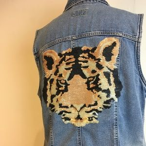 Awesome up-cycled sequin tiger denim vest